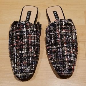 ZARA Metallic Tweed Mules Slip On Loafers Slippers